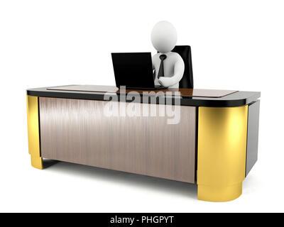 3D Mann arbeiten mit Laptop auf dem großen Schreibtisch - Stockfoto