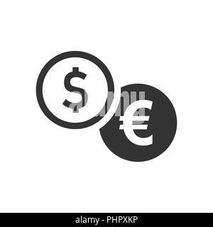 Münzen Symbol Stack im flachen Stil. Dollar Münze Vector Illustration auf weißem Hintergrund isoliert. Geld gestapelt Geschäftskonzept. - Stockfoto