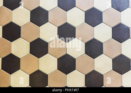Beige Und Braun; Bunter Marmor Hexagon Fliesen. Beige Und Braun   Stockfoto
