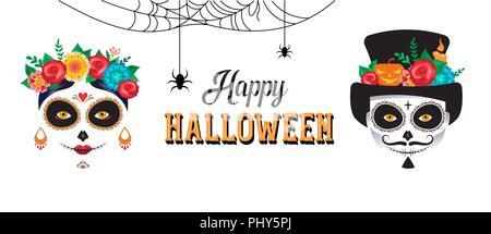 Happy Halloween Poster, Hintergrund, Banner und Karte mit Frau und Mann Schädel bilden. - Stockfoto
