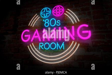 Beliebt Spielsaal 80s Retro neon 3d-Abbildung. Elektrische Symbol und NU52