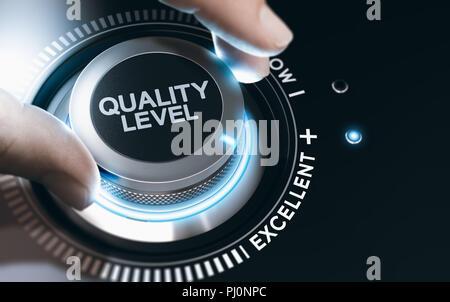 Hand drehen einer Qualität Knopf, um die Qualität zu verbessern. Das zusammengesetzte Bild zwischen einer hand Fotografie und 3D-Hintergrund. - Stockfoto