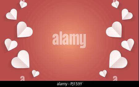 Hintergrund von Herzen Vektorsymbol, Rahmen weiß Herz auf dem roten Hintergrund, Rahmen von Papier in Herzform, Logo der Valentinstag und Liebe Symbol - Stockfoto