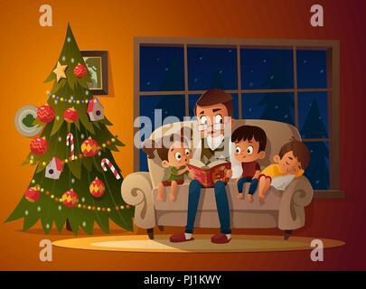 Großvater mit Enkel auf einem gemütlichen Sofa mit dem Buch, in der Nähe der Weihnachtsbaum. Lesen und erzählen Buch märchen geschichte. Die Jungen und Mädchen auf ihn sollt ihr hören. Vector Illustration. Gemütlichen Abend - Stockfoto