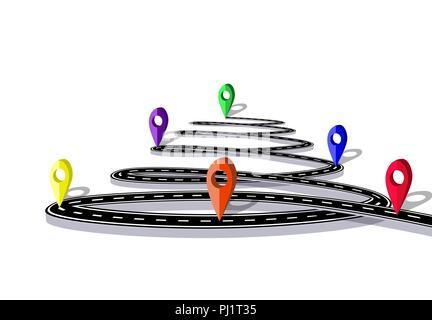 Infografiken. Die Straße ist in der Form einer Spirale stilisiert. Navigation Markierungen. Isoliert. Abbildung - Stockfoto