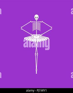 Skelett Ballerina isoliert. Schädel und Knochen Ballett. Halloween Vector Illustration. - Stockfoto