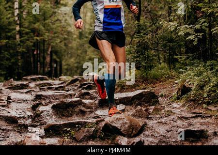 Mann Läufer in Kompression Socken, die auf Spuren von Stein Herbst Wald - Stockfoto