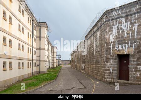Zelle Bausteine und Gebäude in Peterhead Gefängnis, Schottland. Ursprünglich im Jahre 1888 eröffnet, das Gefängnis geschlossen in 2013 und ist heute als Museum erhalten. - Stockfoto