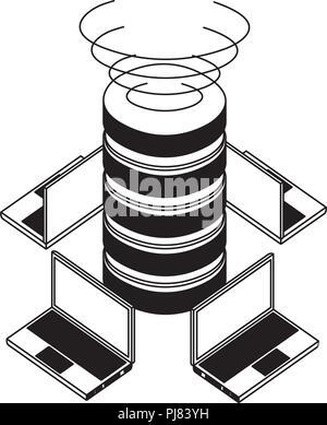 Data Center Festplatten mit Laptops Computer isometrische Symbol Vektor illustration Design - Stockfoto