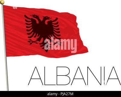 Albanien Flagge auf dem weißen Hintergrund - Stockfoto