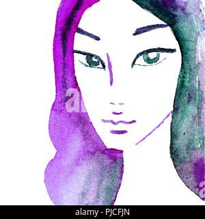 Aquarell Mädchen. Einzigartige, handbemalte Portrait. Fashion, Beauty, Fashion Model - Stockfoto