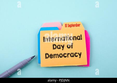 Internationaler Tag der Demokratie 15. September - Stockfoto