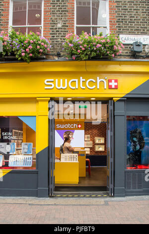 Swatch Store auf Carnaby Street, Soho, London, W1, UK - Stockfoto