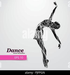 Silhouette eines tanzenden Mädchen. Hintergrund und Text auf einem separaten Layer, Farbe kann mit einem Klick geändert werden. - Stockfoto
