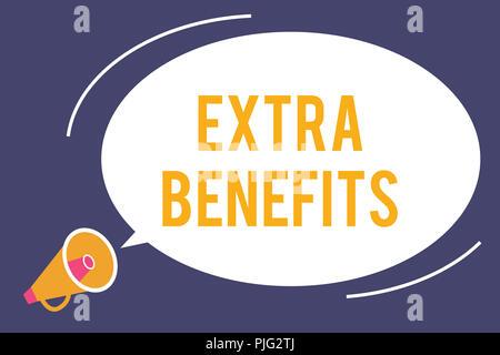 Wort schreiben Text zusätzliche Vorteile. Business Konzept für zusätzliche Vergütung, Bonus Subventionen Anreize Zulagen. - Stockfoto