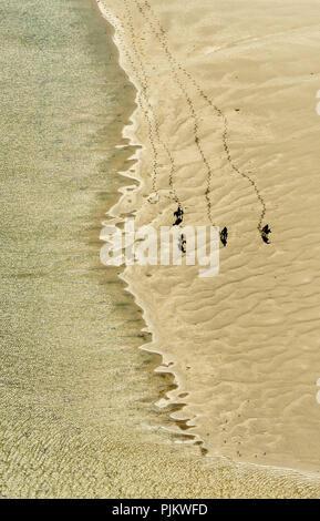 Rusheen Bay Galway mit Reiten am Strand, Atlantic Beach, Sandy Beach, Galway, Barna, County Clare, Galway, Irland, Europa - Stockfoto