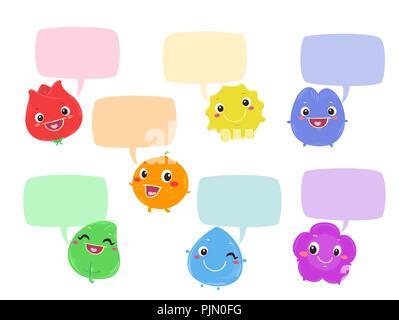 Abbildung: Rainbow Color Maskottchen mit leeren Sprechblasen - Stockfoto