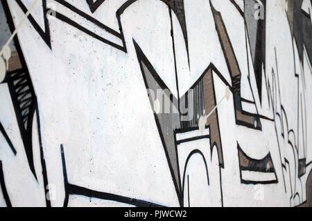 Die alte Mauer, in Farbe graffiti Zeichnen mit Aerosol Farben gemalt. Hintergrundbild auf dem Thema der Zeichnung Graffiti und Street Art - Stockfoto
