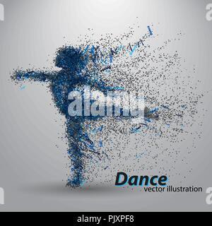 Silhouette eines tanzenden Mädchen von Partikeln - Stockfoto
