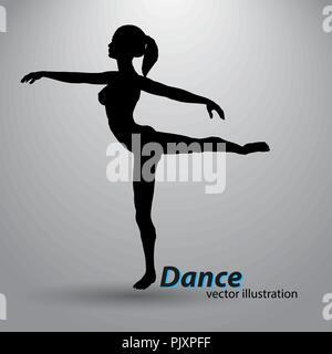 Silhouette eines tanzenden Mädchen - Stockfoto