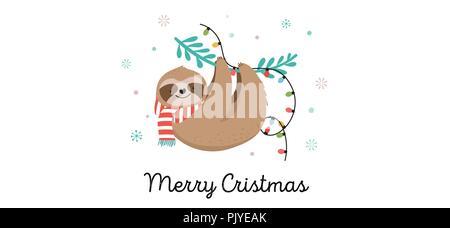 Cute Faultiere, lustige Weihnachten Illustrationen mit Santa Claus Kostüme, Hut und Schals, Grußkarten, Banner - Stockfoto