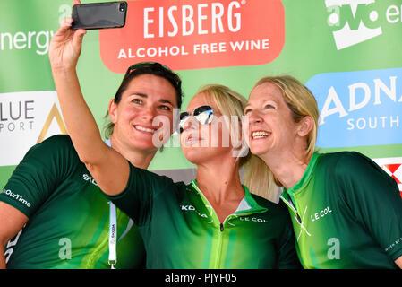 Dame Sarah Geschichte, Gail emms an der OVO Energy Tour von Großbritannien Radrennen, Stadium 8, London, UK. Die Gleichstellung der Frauen, Skoda unterstützt' Dies ist unsere Zeit' - Stockfoto