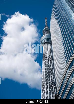 TOKYO, JAPAN - 8. September 2018: Ein Teil von Japan Tokio skytree Tower Gebäude mit einem blauen Himmel - Stockfoto