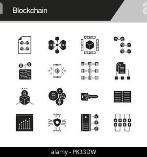 Blockchain Symbole. Design für die Präsentation, Grafik Design, Mobile, Web Design, Infografiken. Vector Illustration. - Stockfoto