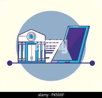 Smartphone mit fintech Symbole Vector Illustration Design - Stockfoto
