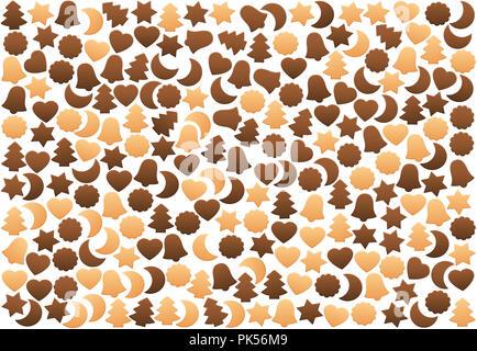 Weihnachtsplätzchen Muster, Lose angeordnet. Verschiedene Arten von shortbread Kekse, Lebkuchen oder Schokolade Cookies, mit typischen Formen. - Stockfoto