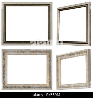 Zwei weiße Bilderrahmen in verschiedenen Ansichten mit Profil und goldene Farbe lackiert - Stockfoto