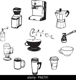 Kaffeetassen und Ausrüstung Abbildung. Hand gezeichnet/Ausrüstung. Tassen, Gläser, Maschinen Hand gezeichnete Skizze. - Stockfoto