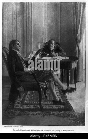 Benjamin Franklin und Richard Oswald über den Vertrag von Frieden Paris - Stockfoto
