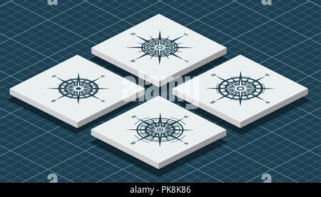 Eingestellt von isometrischen Kompass Rosen - Stockfoto