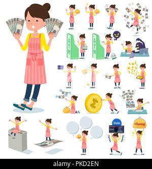Eine Reihe von hausfrau mit über Geld und Wirtschaft. Es gibt auch Aktionen über Erfolg und Misserfolg. Es ist Vektor Kunst so ist es leicht zu bearbeiten. - Stockfoto