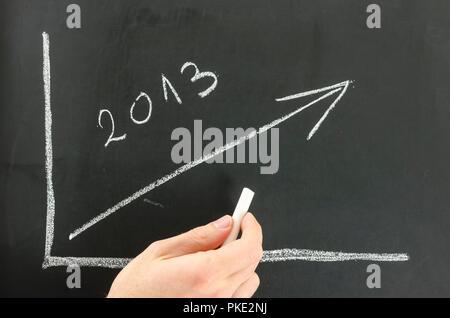 Geschäftsmann wachsendes Grafik für das Jahr 2013 auf einem schwarzen Brett. - Stockfoto