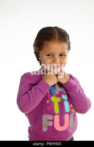 Süße kleine Mädchen auf weißem Hintergrund - Stockfoto