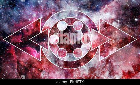 Universum, Nebel, Galaxy und die heilige Geometrie Collage. Abstrakten Weltraum. Elemente dieses Bild von der NASA eingerichtet. - Stockfoto