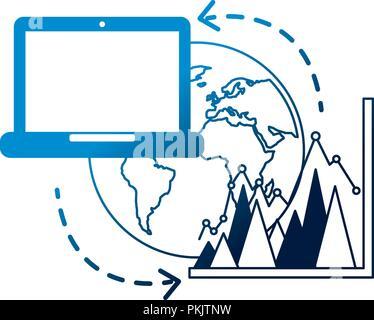 Laptop welt wirtschaft Statistik Grafik die gemeinsame Nutzung von Daten Vector Illustration neon - Stockfoto