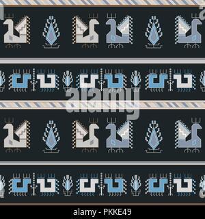 Dunkle traditionelle Geometrische nahtlose Muster im bulgarischen Stil mit Vögeln. - Stockfoto