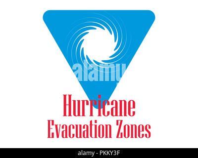 Hurricane Evakuierungszone. Warnung Schild, isolierte blaues Dreieck. Vector Illustration - Stockfoto