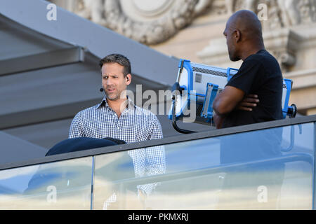 Las Vegas, NV, USA. 14 Sep, 2018. Max Kellerman auf dem Set von ESPN's Erste am Bier Park im Paris Hotel in Las Vegas, Nevada. September 14, 2018. Credit: Damairs Carter/Medien Punch/Alamy leben Nachrichten - Stockfoto