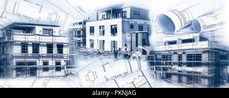 Drei shell Gebäude als Komponieren mit verschiedenen Blaupausen - Stockfoto