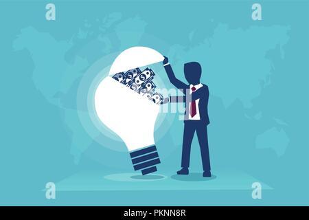 Geschäftsmann öffnen eine Glühbirne voll Geld, Vector Illustration Business Konzept - Stockfoto