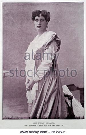 """Evelyn Millard Porträt, 1869-1941 war ein englischer Shakespeare Schauspielerin, Schauspieler, Manager und """"stage Beauty"""" des späten neunzehnten und frühen zwanzigsten Jahrhundert vielleicht am besten für die Erstellung der Rolle von Cecily Cardew in der 1895 Premiere von Oscar Wildes spielen die Bedeutung der Ernst, Foto aus dem Jahr 1890 bekannt - Stockfoto"""