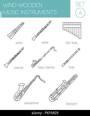 Musikinstrumente grafische Vorlage. Wind aus Holz. Vector Illustration - Stockfoto
