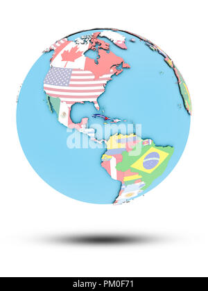 Kuba auf die politische Welt mit nationalen Flaggen auf weißem Hintergrund. 3D-Darstellung. - Stockfoto