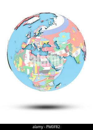 Zypern auf die politische Welt mit nationalen Flaggen auf weißem Hintergrund. 3D-Darstellung. - Stockfoto