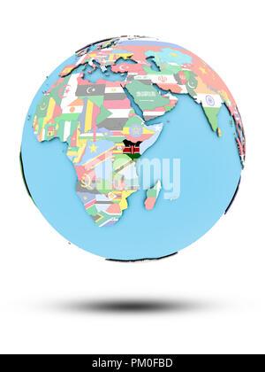 Kenia auf die politische Welt mit nationalen Flaggen auf weißem Hintergrund. 3D-Darstellung. - Stockfoto