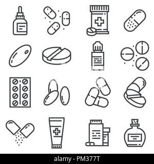 Pillen und Kapseln Symbole gesetzt. Vector Illustration. Apotheke Symbole. Augentropfen, Antidepressiva, Pilule, Salbe und mehr - Stockfoto